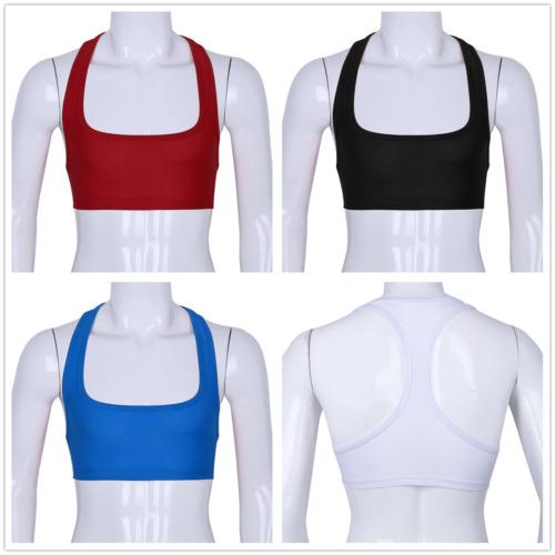 Mens Racerback Half Tank Top Sleeveless Singlet Y-Back Muscle Crop Top Clubwear