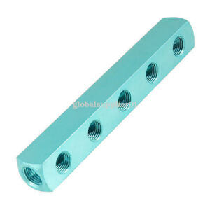 "1/4"" PT Threaded Ports 5 Way Quick Connect Air Hose Manifold Block Splitter 714973888007"