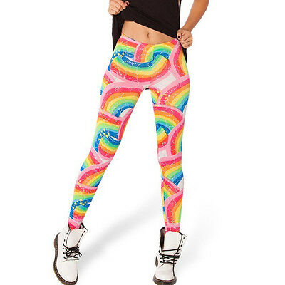 RainbowS & stars silky leggings - 8-14 UK, happy bright kawaii, cute, colorful