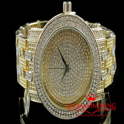 MEN'S ICED OUT TWO TONE GOLD FINISH LAB DIAMOND ICEMASTER METAL BAND WRIST WATCH