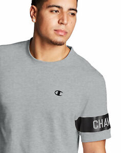 Champion-Mens-Tee-T-Shirt-Block-Logo-Sleeve-Double-Dry-Short-Sleeve-Modern-Fit