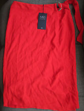 MARKS & SPENCER M & S RED BELTED WRAP KNEE PENCIL SKIRT UK 8 RRP £30 NEW
