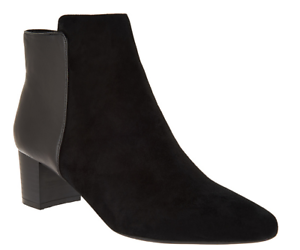Rockport Total Motion Leather and Suede Ankle Boots Black Womens Size 8 New