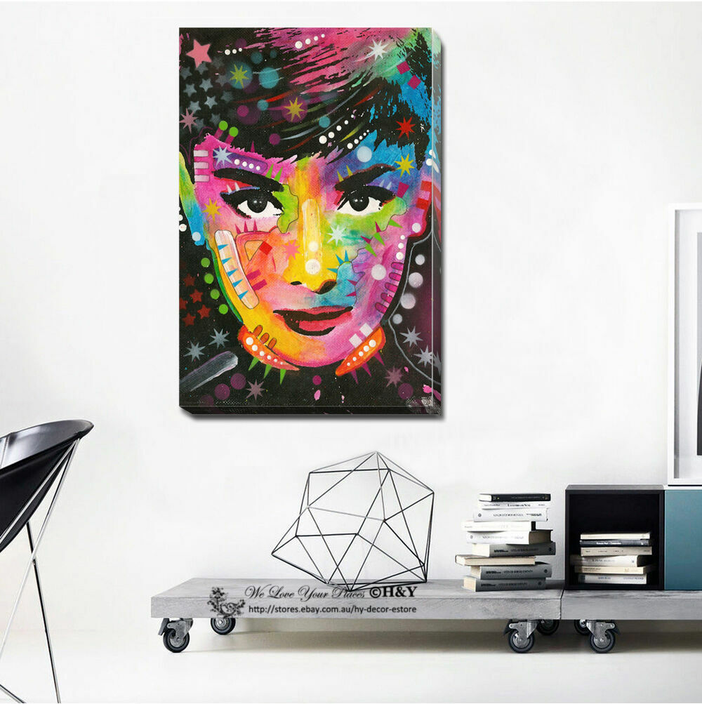 Audrey Hepburn Abstract Canvas Druckens Framed Wand Kunst Home Decor Painting Gift