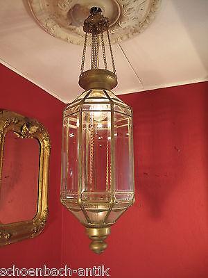 Schlanke Hängelampe - Laterne / Ampel um 1880 geschliffene Scheiben - Flurlampe
