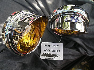 NEW PAIR SMALL VINTAGE STYLE AMBER COLOR FOG LIGHTS WITH VISORS 6-VOLTS !  B/T