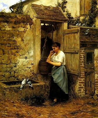 PEASANT GIRL AND DOVES WATER CISTERN BIRDS PAINTING BY HENRY MOSLER REPRO