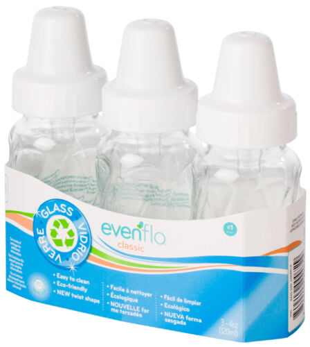 3 Pk Evenflo 4 oz or 8 oz Twist Classic Real Glass Baby Bottles BPA Free 937500
