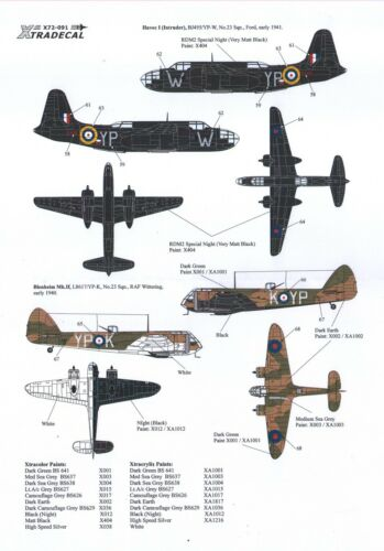 Xtradecal 1:72 X72091 History of Raf Escadron 23 1940 To 1990 10 marquage Options