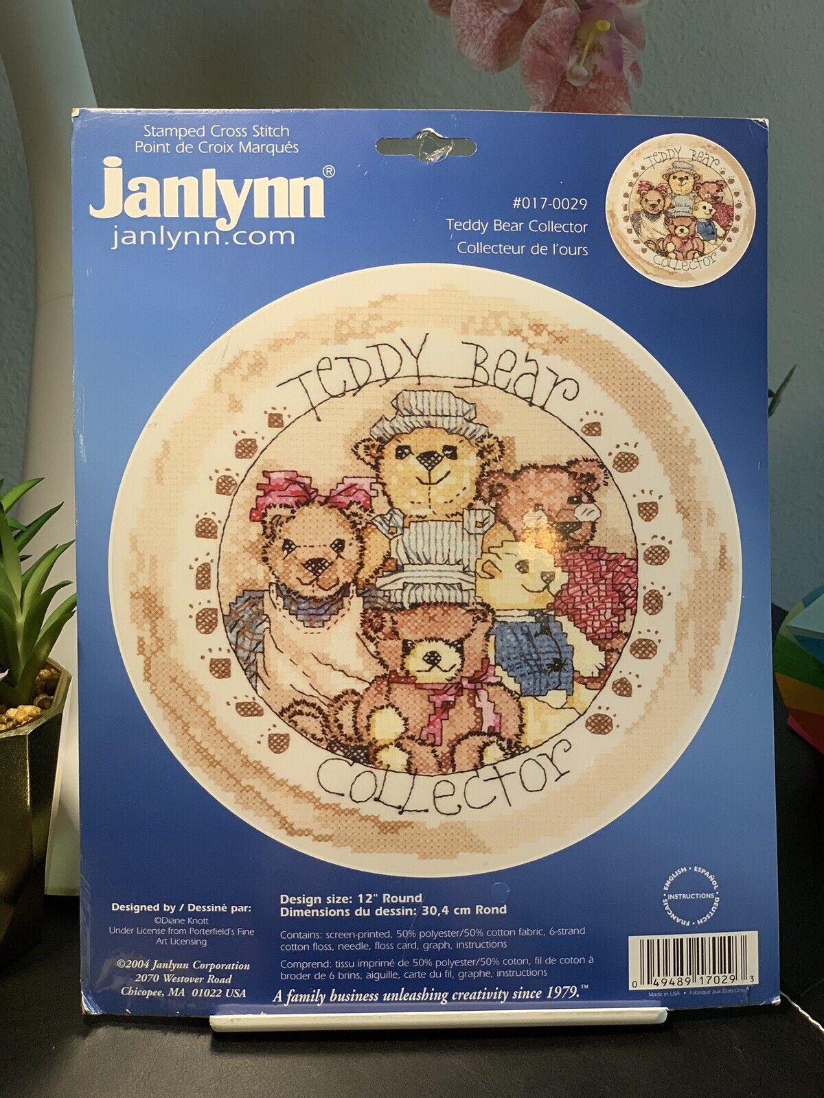 L Art Du Point De Croix janlynn teddy bear collector stamped cross stitch kit ship 2004