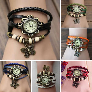 Retro-Punk-Quartz-Watches-Bracelet-Wristband-Bangles-Butterfly-Fashion-Jewelry