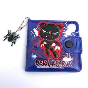 Gothic Horror Anime 90s Goth Punk Devil Bear Spider Web Blue Vinyl Art Wallet