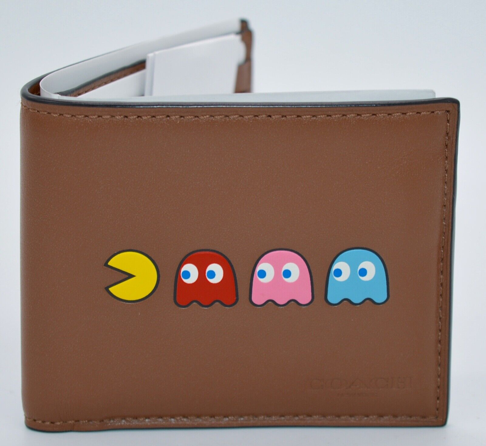 New SOLD OUT!!!!! Coach x PacMan Saddle Brown Billfold Leather Wallet Mens Rare