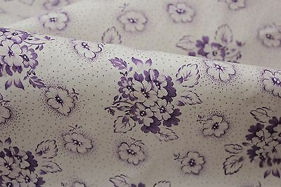 Vintage PURPLE floral cotton fabric material patchwork weight c 1940's quilting