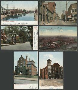 Schenectady-NY-Six-c-1906-10-Postcards-ERIE-CANAL-CENTRE-ST-ELLIS-RES-G-E
