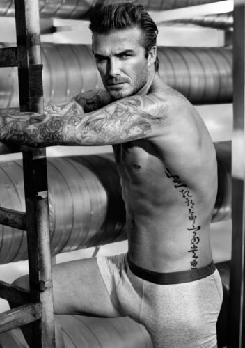 David Beckham Topless Large Poster Art Print Black /& White in Card or Canvas