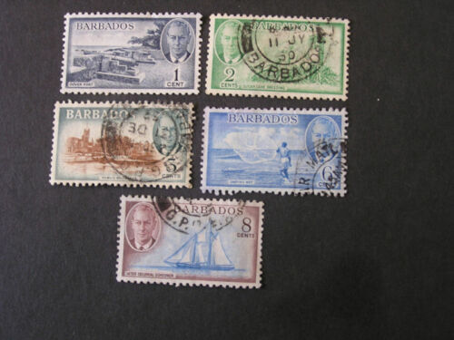 BARBADOS, SCOTT # 216-218(3)+220+221(2) TOTAL 5 KGV1 1950 ISSUE USED