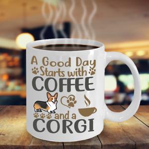COFFEE WITH MY CORGI, WELSH CORGI  WHITE COFFEE MUG, CORGI GIFT, CORGI DOG MUG