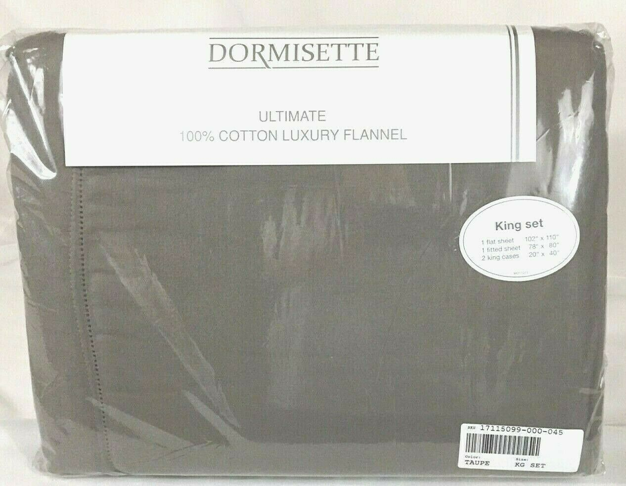 KING Flannel Sheet Set Taupe THE BEST Dormisette 100/% Thick German Cotton Brown