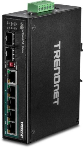 ti-pg62 TRENDnet 6-Port Hardened Industrial Gigabit PoE DIN-Rail Switch