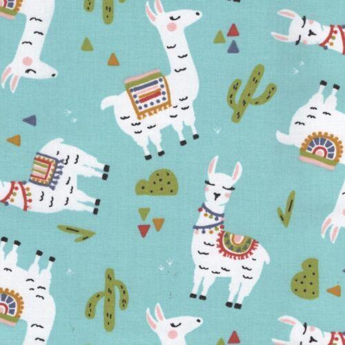 Aqua Elegant Llama Main 100/% Cotton Fabric Children Dressmaking