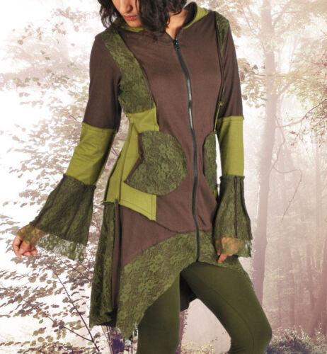 Gothic duendecillo ethno Goa hippie Pixie abrigo chaqueta Hoodie verde marrón 44 46 48 50