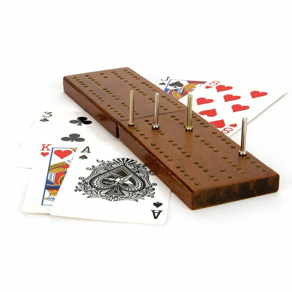 Classic Wooden Cribbage Crib Board Playing Cards Set Pegs