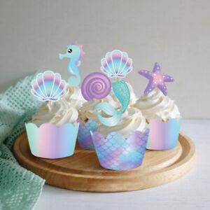 40XMermaid-Cake-Border-Baby-Shower-Wedding-Party-Cake-Topper-Decorations-Kids