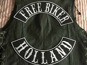 Free-Biker-Holland-Patch-Banner-XL-Set-Each-39x8-7-cm-Vest-MC-Without