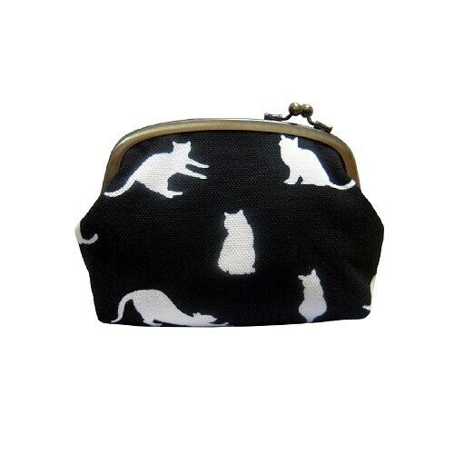 Enthusiastic Kataoka Kyoto Japan Wabisuke Gamaguchi Pouch Small Size Cat Black / Blue Color Finely Processed
