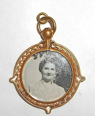 ANTIQUE VICTORIAN GOLD FILLED AND CRYSTAL DOUBLE SIDED PHOTOS LOCKET PENDANT FOB