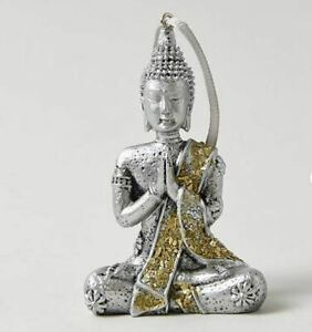 Stylish-Silver-Finish-Hanging-Buddha-Outdoor-or-Indoor-Statue-Ornament