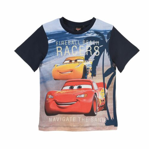 Boys Kids Disney Cars Lightning McQueen Short Sleeve T Shirt Age 3-8 Years