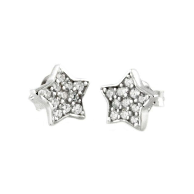 Sterling Silver 925 Cubic Zirconia Paved Star Stud Earrings