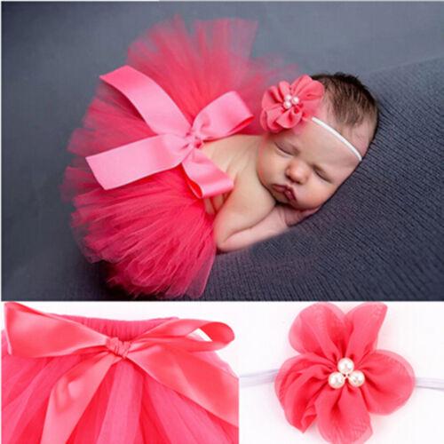 Cute Newborn Baby Flower Headband Tutu Skirt Photo Photography Props Costume GQ