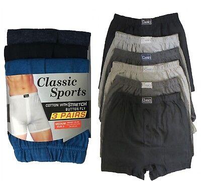 Men/'s 3,6,12Pcs Cotton Rich Button Fly Boxer Shorts Assorted Underwear Big Size