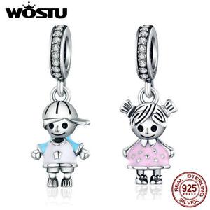 Wostu-Cute-Little-Boy-and-Girls-925-Silver-Dangle-Charm-Beads-Fit-Bracelet-Chain