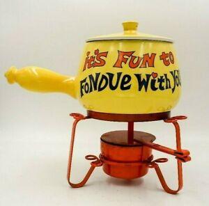 Vintage-70-039-s-FONDUE-SET-Ceramic-MOD-mid-century-Kitsch-Hippie-Boho-YELLOW-orange