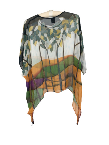 Cocoon House Womens Top Blouse Silk Hand Painted L