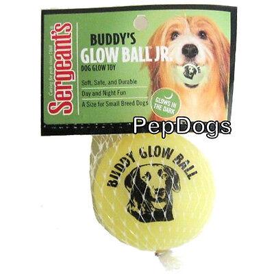 "Sergeants BUDDY'S GLOW BALL JR 2.5"" Latex Fetch Dog Puppy Toy Glows in the Dark"