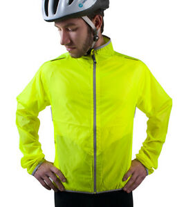 ATD Cycling Windbreaker Biking Jacket High Visibility Yellow Water