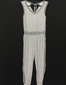 25328de5ea5 Details about Monteau Women s One Piece V Neck Gray and White Striped  Sleeveless Romper Size S