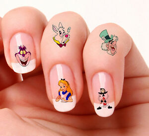 40-Nail-Art-Decals-Transfers-Stickers-872-873-Alice-in-wonderland-mixed-set