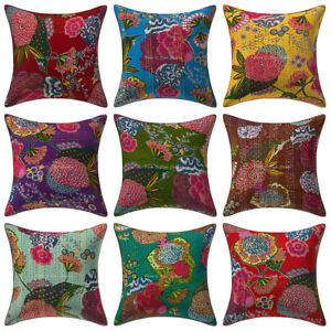 Indian Handmade Kantha Cotton Cushion Cover Embroidered Decor Pillow Cover