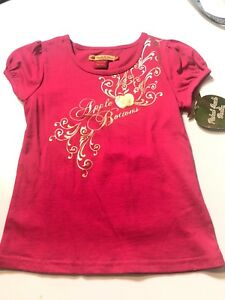 Apple-Bottoms-Girls-Kids-Size-6-Pink-Gold-Top-Tee-Tshirt-BNWT-New