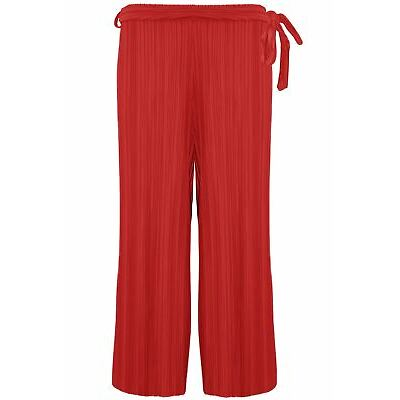 Womens Ladies 3/4 Wide Leg Belted Culotte Palazzo Flared Pleated Cropped Trouser