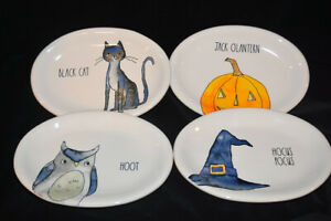 Rae-Dunn-Halloween-Oval-Side-Plates-Owl-Cat-Pumpkin-And-Witch-Hat-NEW