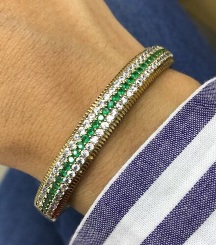 925 Sterling Silver Handmade Gemstone turc Emerald Femmes Bracelet