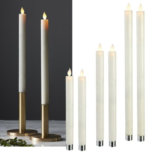 2er Set LED Candles with Timer Moving Flame Real Wax Table Candle Wax