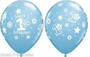 Image Is Loading Qualatex 11 034 Blue Happy 1st Birthday Balloons